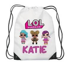 Personalised LOL Dolls Kids Drawstring Bag Swimming, School, PE, gymnastics,