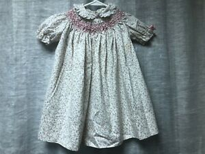 Vintage Polly Flinders Size 4 Dress Smocked Collar Ties Short Sleeve Girls
