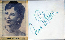 IRRA PETINA (ACTRESS, SINGER) SIGNATURE ON CARD BN4169