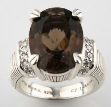 Judith Ripka Sterling Silver Smoky Quartz Prong-Set Ring Size 6.25 w/ CZ Accents