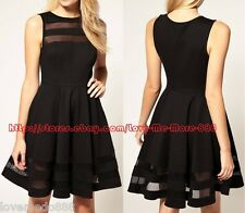 Vintage Sexy Womens Mesh see through trims Casual Skater Dress BLACK SMALL 4 6