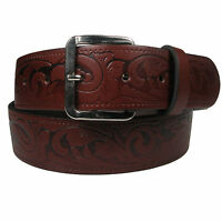 New Genuine Full Grain Mens Leather Stained Patterned Belt Made in the UK