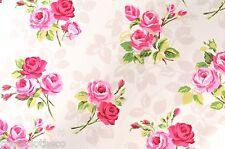 1.3M/130cm quadrato Nancy Chintz PULIZIA PVC BIANCO Rose Tovaglia di tela cerata