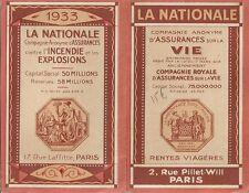 CALENDRIER 1933 LA NATIONALE COMPAGNIE D'ASSURANCES VIE RENTES VIAGERES PARIS