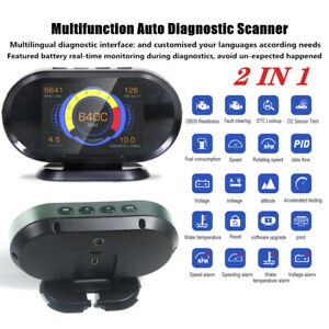 2 In 1 Auto Fault Code Reader OBD2 Scanner Car 3.5'' Head Up Display Scan Tool
