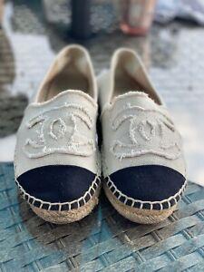 Chanel canvas espadrilles size 5 38