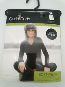 Women's Cuddl Duds Softwear V-Neck Top Size: X-Small Grey Check