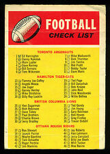 1970 OPC O PEE CHEE CFL FOOTBALL #110 CHECKLIST  CHECK LIST MARKED card