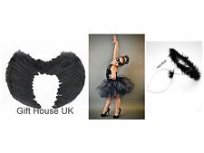Kids Feather Wings Angel Fairy Halo Fancy Dress Costume Outfit Stage Party BLACK