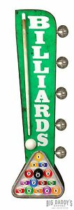BILLIARDS Double Sided Sign W/ LED Lights, Garage Home Bar Man Cave Bar Pool Pub
