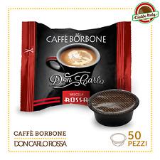 50 capsules de café Borbone Don Carlo Mélange Rouge compatible Lavazza en sorte