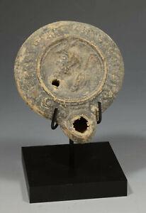 ANCEINT GRAECO ROMAN POTTERY OIL LAMP CA 200BC/AD W/ CUSTOM STAND