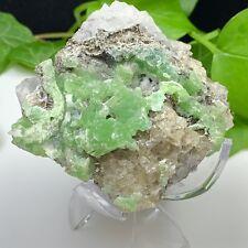 Botryoidal Green Smithsonite w/ Cerussite on Fluorite from Larium, Greece - SALE