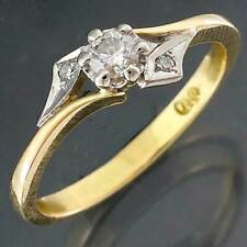 Vintage 60-70s 18k Solid Yellow & White GOLD 3 DIAMOND ENGAGEMENT RING Sz M