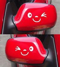 Sonrisa Wink coche ala Puerta Espejo Divertido calcomanía de pegatinas Novedad Regalo Blanco