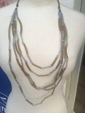 Giorgio Armani Long Necklace Glass Crystal Beads And Rubber Tubes Long Runway