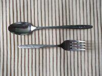 1 Iced Teaspoon, & 1 Salad Fork, Superior Stainless Radiant Rose Pattern