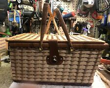 Vintage Rattan Wicker Hamper Picnic Basket w/ Blue Lining