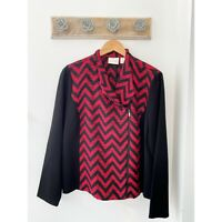 Chico's Women's Zig Zag Black & Red Zip Blazer Jacket Size 2 / Large