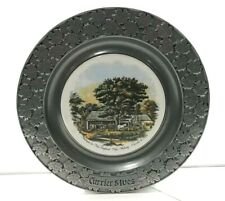 Currier Ives Carson Pewter 10.5 plate ~ Autumn in New England Cider Making ~