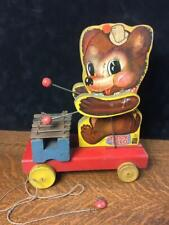 Fisher-Price 1940s TEDDY ZILO No. 752 Wooden Pull Toy Vintage Bear w/ Xylophone