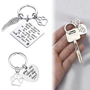 Handmade Pet Memorial Keychain Cat Dog Keyring Heart Antique Jewelry Silver