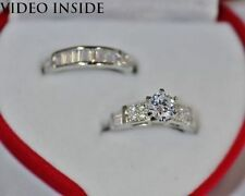 Sterling Silver Solitaire with Accents Engagement & Wedding Ring Sets