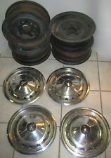 Vintage OEM 1957 Chevrolet Belair Wheels and Hub Caps, 14 Inch 5x4.75. 5 inches