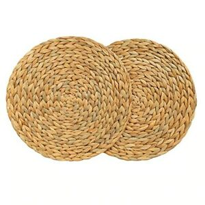 Table Mat Handmade Woven Placemat  Water Hyacinth Round Heat Resistant