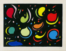 Grande peinture Gouache moderne 1950 /1970 monogramme ?