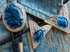 NEW BLUE ABALONE BOLO BOOTLACE TIE & COLLAR TIPS SILVER METAL, LEATHER CORD