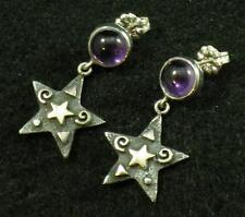 .925 Antiqued Sterling Silver Star 22k Gold Amethyst Post Dangle Earrings