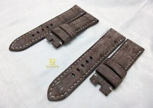Handmade DARK BROWN NUBUCK genuine croc leather strap oval 24mm fits Panerai,PAM