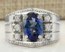 MENS 4.62 Carat Natural Tanzanite 14K White Gold Diamond Ring
