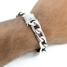 Men's 12mm Figaro Bracelet 14k White Gold Plated Stainless Steel Diamond Clasp