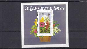 ST LUCIA Scott 931 MNH 1988 Christmas Flowers Souvenir sheet