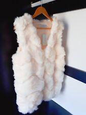 UK Women Ladies Cream Winter Faux Fur Vest Gilet Waistcoat Jacket Outwear