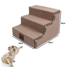 New Pet Animal Stairs Dogs Cats Steps Ramp Ladder Staircase Khaki 3 Safety Steps