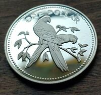 Rare Silver Proof 1974 Belize Silver dollar Macaw. Superb with New Round Holder