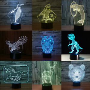 3D Illusion Lamp Animal LED Touch Control Night Light Bedroom Decor Xmas Gift