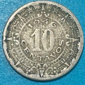 1946 Mexico 10 Centavos Mexica Aztec/Sun Stone Coin