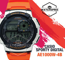 Casio Mens Digital Watch Casual Orange Band Ae-1000w-4b