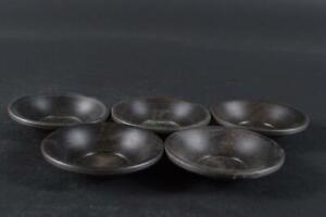 #2274: Japanese Wooden TEA CUP TRAY Saucer Chataku 5pcs