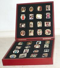 More details for princess diana pin collection, danbury mint set of 32. in presentation wood case