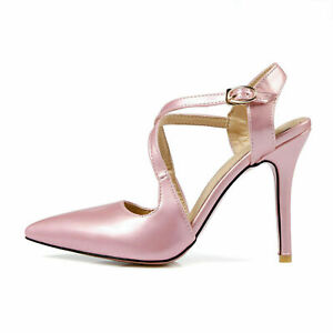 Ladies Pointed Shoes Synthetic Leather High Heels Strap Sandals Size UK 7.5 S049