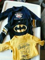 Baby Gap, Carter's + Size 3 months Baby Boy 3 piece Long Sleeve Top Lot Batman