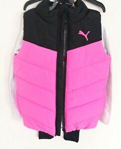 PUMA Little Girl's 3 Piece Outfit Set - Shirt, Pants Vest, Pink