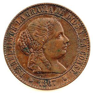 ISABEL II. 2 1/2 Centimos de Escudo. 1867. Barcelona. EBC-/XF-. Cobre 6,2 g.