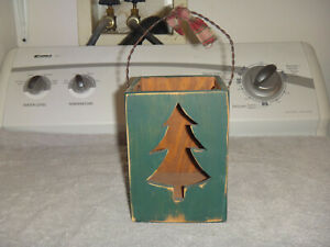 """CHRISTMAS TREE WOODEN CANDLE HOLDER 11""""H X 5 1/2""""W X 5"""" D"""
