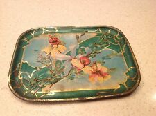 Vintage Tin Litho Tea Set Multi Flowers Floral Gold and Green Accent Tea Tray